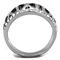 Stainless Steel Roman Numeral Crystal Anniversary Ring Band Women's Size 5-10