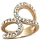 Stainless Steel Rose Gold Plated 1.02Ct Crystal Fashion Ring Women's Size 5-1 0