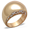 Stainless Steel Rose Gold Plated .3Ct Crystal Dome Fashion Ring Women's Sz 5-1 0