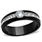 Stainless Steel Two Toned Black Ion Plated Cz Engagement Ring Women's Size 5-10