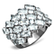 Stunning Silver Stainless Steel Wide Band Zirconia Fashion Ring Womens Sizes 5-10