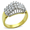 Two Tone Ion Plated Stainless Steel 316 Cubic Zirconia Cocktail Fashion Ring Size 5-10