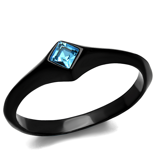 Buy Women s Princess Cut Sea Blue Cz Stainless Steel Black Engagement Rin