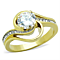 Women's Stainless Steel 316 1.32 Carat Zirconia Gold Plated Engagement Ring