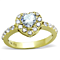 Women's Stainless Steel 316, 1.38 Ct Zirconia Gold Plated Halo Engagement Ring