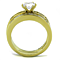 Women's Stainless Steel 316 1.75 Carat Zirconia Gold Plated Wedding Ring Set
