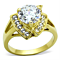 Women's Stainless Steel 316 14K Gold Plated 3.1 Carat Zirconia Engagement Ring