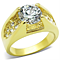 Women's Stainless Steel 316 14K Gold Plated 3.3 Carat Zirconia Engagement Ring
