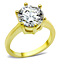 Women's Stainless Steel 316 14K Gold Plated 3.5 Carat Zirconia Engagement Ring