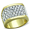 Women's Stainless Steel 316 14K Gold Plated Crystal Cocktail Fashion Ring
