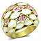 Women's Stainless Steel 316 14K Gold Plated Crystal Epoxy Dome Cocktail Ring
