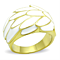 Women's Stainless Steel 316 14K Gold Plated White Epoxy Feather Fashion Ring