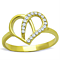 Women's Stainless Steel 316 14K Gold Plated Zirconia Heart Shaped Fashion Ring