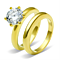 Women's Stainless Steel 316 2.05 Carat Zirconia Gold Plated Wedding Ring Set