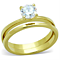 Women's Stainless Steel 316 .85 Carat Zirconia Gold Plated Wedding Ring Set