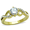 Women's Stainless Steel 316 .89 Carat Zircona 14K Gold Plated Engagement Ring
