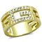 Women's Stainless Steel 316 Crystal 14K Gold Ion Plated Letter G Fashion Ring