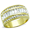 Women's Stainless Steel 316 Crystals 14K Gold Ion Plated Anniversary Ring
