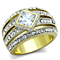 Women's Stainless Steel 316 Cushion Cut 1.5Ct Zirconia Two Toned Cocktail Ring