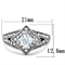 Women's Stainless Steel 316 Cushion Cut 1 Carat Cubic Zirconia Engagement Ring