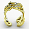 Women's Stainless Steel 316 Gold Ion Plated Crystal Cuff Cocktail Fashion Ring