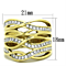 Women's Stainless Steel 316 Gold Plated Cubic Zirconia Wide Band Cocktail Ring