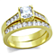 Women's Stainless Steel 316 Gold Plated Princess Cut Zirconia Wedding Ring Set