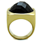 Women's Stainless Steel 316 Gold Plated Synthetic Onyx Cocktail Fashion Ring