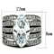 Women's Stainless Steel 316 Marquise Cut Zirconia Wide Band Engagement Ring