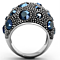Women's Stainless Steel 316 Montana 5.63 Carat Crystal Cocktail Fashion Ring