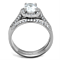 Women's Stainless Steel 316 Oval Cut Cubic Zirconia Halo Wedding Ring Set