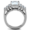 Women's Stainless Steel 316 Radiant Cut 4.57 Carat Zirconia Engagement Ring