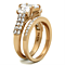 Women's Stainless Steel 316 Rose Gold Emerald Cut Zirconia Wedding Ring Set
