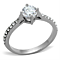 Women's Stainless Steel 316 Round Brilliant Cut Cubic Zirconia Engagement Ring