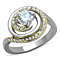 Women's Stainless Steel 316 Round Cut 1 Ct Zirconia Two Toned Engagement Ring