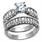 Women's Stainless Steel 316 Round Cut Cubic Zirconia Engagement Wedding Ring Set
