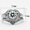 Women's Stainless Steel 316 Round Cut Cubic Zirconia Heart Halo Wedding Ring Set