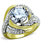 Women's Stainless Steel 316 Round Cut Cubic Zirconia Two Toned Cocktail Ring