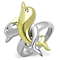 Women's Stainless Steel 316 Two Toned Plated Crystal Dolphin Fashion Ring