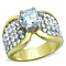 Women's Stainless Steel 316 Two Toned Plated Cubic Zirconia Engagement Ring