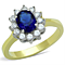 Women's Stainless Steel Blue Montana Synthetic Glass Halo Style Engagement Ring