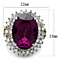 Women's Stainless Steel Two Toned Oval Amethyst Crystal Cocktail Fashion Ring