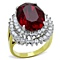 Women's Stainless Steel Two Toned Oval Siam Red Crystal Cocktail Fashion Ring