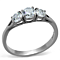 Women's Three Stone .96 Ct Zirconia Stainless Steel Anniversary Ring Size 5-10