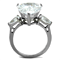 Womens 11.83Ct Pear Shape Cubic Zirconia Stainless Steel Engagement Ring Sz 5-10