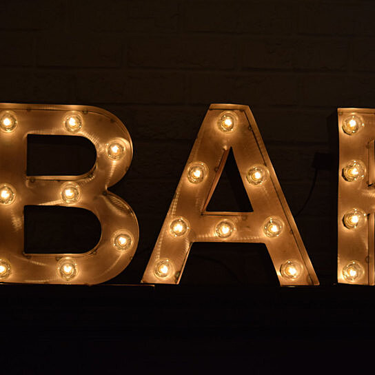 Buy custom vintage style marquee metal letters lights bar for Where can i buy metal letters