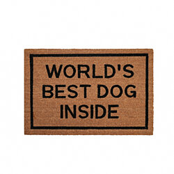 """World's Best Dog Inside"" coir doormat"
