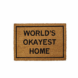 """World's Okayest Home"" coir doormat"