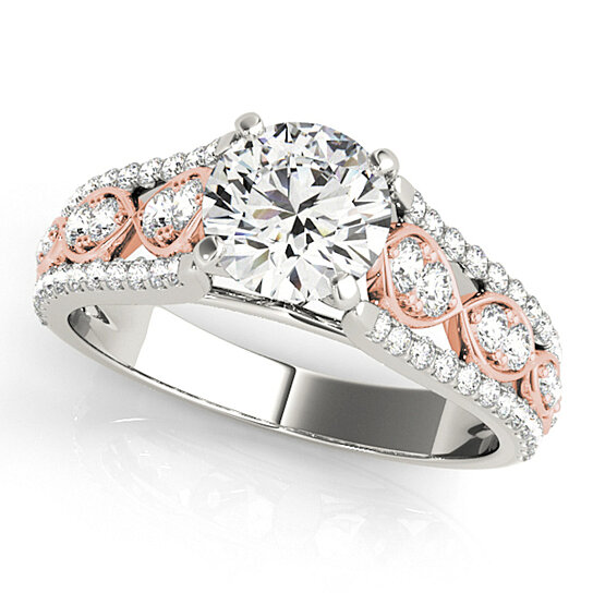 Buy 1 Carat Halo Two-Tone Hand Crafted Diamond Engagement