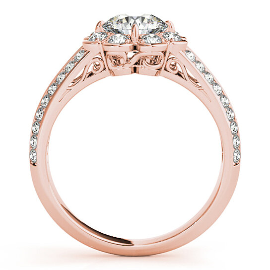 buy 3 4 carat halo round diamond flower shaped engagement ring in 14k rose gold by maulijewels. Black Bedroom Furniture Sets. Home Design Ideas